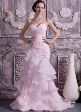 Pink Organza Satin Sweetheart Mermaid Trumpet Wedding Dress