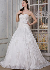Ivory Taffeta Sweetheart Beading A-line Wedding Dress