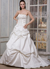 Ivory Satin Beading Strapless Embroidery A-line Wedding Dress