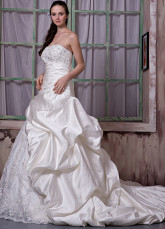 Ivory Satin Strapless A-line Wedding Dress
