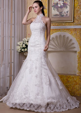 Ivory Satin Lace Beading Halter Mermaid Trumpet Wedding Dress