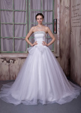 Ivory Satin Lace Beading A-line Wedding Dress