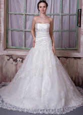 Ivory Taffeta Lace Strapless Beading A-line Wedding Dress