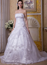 White Satin Organza Strapless A-line Wedding Dress