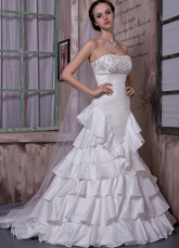 Ivory Taffeta Strapless Beading A-line Wedding Dress