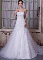 White Net Satin Beading Strapless A-line Wedding Dress