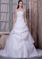 White Satin Organza Strapless Beading A-line Wedding Dress