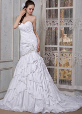 White Taffeta Sweetheart Mermaid Trumpet Wedding Dress