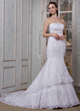 White Lace Strapless Mermaid Trumpet Wedding Dress
