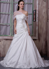 Ivory Taffeta Net Beading Embroidery Strapless A-line Wedding Dress