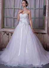 White Organza Satin Sweetheart A-line Wedding Dress