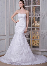 White Satin Organza Strapless Mermaid Trumpet Wedding Dress