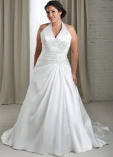 Gorgeous White V-Neck A-line Halter Satin Plus Size Wedding Dress