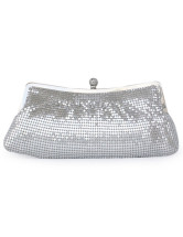 Silver Hobo Shape Metal Mesh Clutch Bag