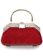 Hasp Closure Satin Rhinestone Hard Case Clutch Bag
