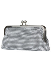 Fashion Hobo Shape Kiss Closure Metal Mesh Clutch Bag