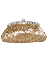 Beautiful Rhinestone Metal Mesh Clutch Bag