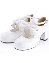 Lolitashow Sweet White Chunky Heels Lolita Shoes Ankle Strap Bow Decor Round Toe
