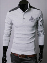 Light Gray Stand Collar Long Sleeves Cotton Men's Polo Shirt