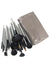 24 Piece Makeup Brush Set With Silver Gray Leather Brush Bag