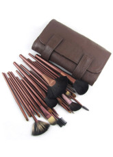 Brown Leather Brush Bag With 27 Piece Makeup Brush Set