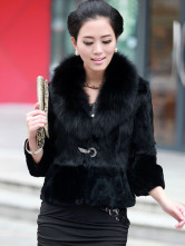 Luxurious Fox Fur Collar Cony Hair Women's Fur Jacket