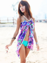 Belle blouse de plage douce et sexy en gaze multicolore détail impression