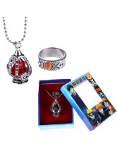 Puella Magi Madoka Magica Red Alloy Anime Ring Necklace Set