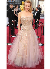 A-line Sweetheart Champagne Tulle Celebrity Oscar Dress