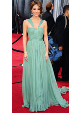 Hunter Green Chiffon A-line Halter Sweep Maria Menounos Oscar Dress