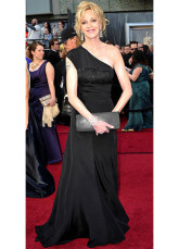 Black Imitated Silk One Shoulder A-line Melanie Griffith Oscar Dress