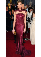 Burgundy Lace Mermaid Trumpet Brooke Burns Oscar Dress