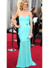 Sky Blue Chiffon Sweetheart Mermaid Trumpet Missi Pyle Oscar Dress