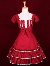 Red Cotton Square Neck Short Sleeves Bow Classic Lolita Dress