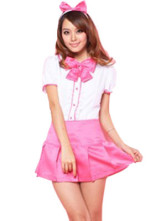 Sweet Pink White Polyester Sexy School Girl Costume