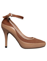 Camel PU Leather Horse Hair Women's Ankle Strap Pumps