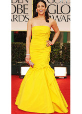 Mermaid Trumpet Yellow Satin Strapless Evening Golden Globe Dress