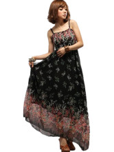 Belle robe maxi bohmienne en mousseline noir  bretelles sans manches