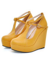 Sweet Pointed Toe PU Leather Ankle Strap Women's Wedge Shoes