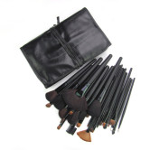 32 Pieces Black Animal Hair Makeup Brushes With Leather Case