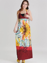 Bohemia Floral V-Neck Lace-Up Silk Womens Maxi Dress