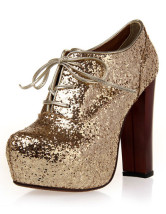 Lace-Up Sequined Cloth Womens Chunky Heel Booties