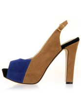 Color Block Peep Toe Chunky Heel Womens Sling Back Shoes