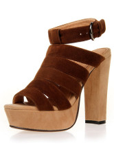 Ankle Straps Strappy Nubuck Chunky Heel Womens Gladiator Shoes
