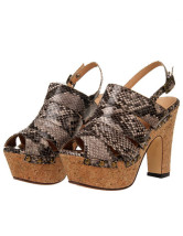 Snake Printed Strappy Chunky Heel Womens Gladiator Sandals