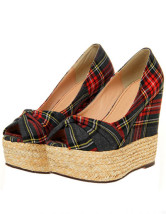 Beautiful Plaid Pattern Knotted Nubuck Womens Peep Toe Espadrilles
