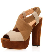 Color Block Chunky Heel Nubuck Womens Gladiator Shoes