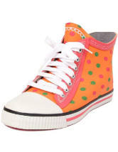 Waterproof Orange Dots Front Lace Up Ankle Rain Boots For Women