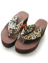 Comfortable Leopard Print Silk And Satin Womens Flip Flops