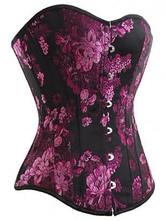 Lolitashow メンズファッション オーバーバストコルセット ローズレッド セクシー ジャガード織 ジャガード織